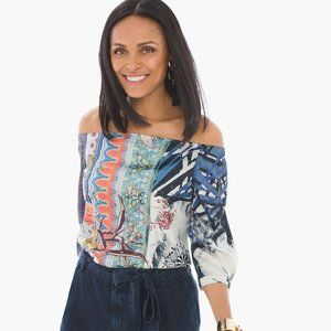 NEW CHICO'S FLORAL-MIX OFF-THE-SHOULDER TOP 0